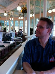 My Husband--who still looks kinda Native American and kinda like Lincoln--at our Anniversary Lunch in the Crystal Palace, 2011